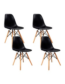 Artiss 4x Retro Replica Eames DSW Dining Chairs Kitchen Wood Black