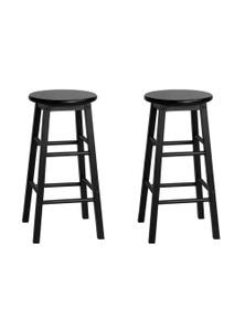 Artiss 2 x Wooden Bar Stools Dining Chairs Kitchen Black Barstools