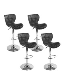 Artiss 4x Bar Stools RUBY Gas Lift Swivel Bar Stool Leather Chairs Black