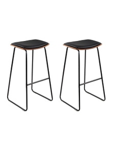 Artiss 2x Wooden Kitchen Bar Stool Counter Chairs Leather Black
