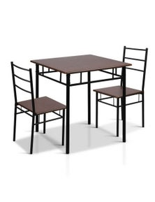Artiss Dining Table And Chairs Dining Set Retro Industrial Wooden Metal Desk Bk
