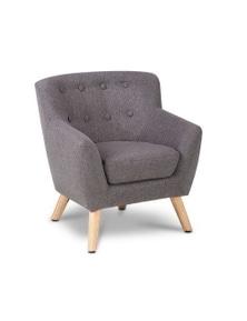 Artiss Keezi Kids Sofa Armchair Fabric Wooden - Lorraine French Couch Children Room Grey
