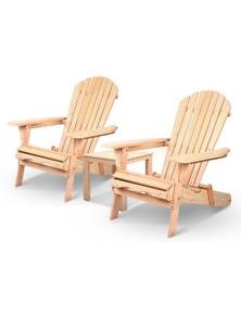 Gardeon 3 Piece Wooden Outdoor Beach Chair and Table Set