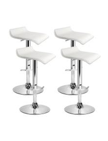 Artiss 4x Bar Stools SENA Gas Lift Swivel Bar Stool Leather Chairs White