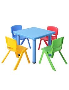 Keezi Kids Table And Chair Set - Plastic Blue 5Pc