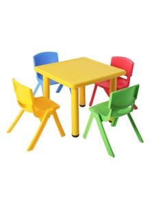 Keezi 60X60Cm Kids Children Activity Study Desk Yellow Table & 4 Chairs Mixed