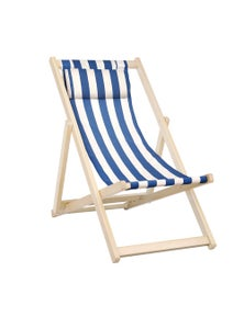 Artiss Gardeon Wooden Beach Chair Folding Outdoor Chairs Blue