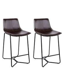 Artiss 2x Bar Stools LEANNE Kitchen Bar Stool Leather Dining Chair Metal Black