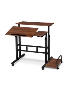 Artiss Laptop Desk Computer Table Mobile Adjustable Sit Stand Desks Wooden Portable W/ Wheels Walnut