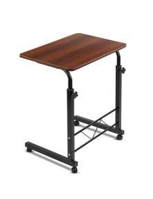 Laptop Desk Mobile Computer Table W/ Wheels Walnut