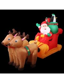 Jingle Jollys Inflatable Christmas 2.2M Santa Sleigh Ride Reindeer