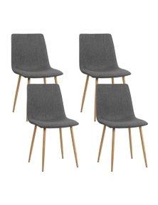 Artiss 4X Dining Chairs Modern Armchair Fabric Seat Cafe Kitchen Iron Dark Grey