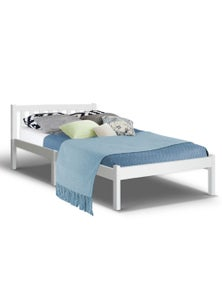 Artiss King Single Wooden Bed Frame Timber