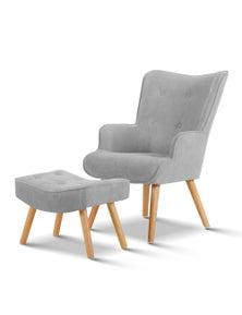 Artiss Lansar Armchair and Ottoman - Light Grey