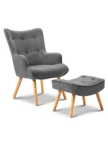 Artiss Armchair and Ottoman - Grey