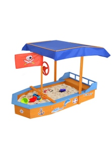 Keezi Boat-shaped Sand Pit with Canopy 78 x 150 x 103cm