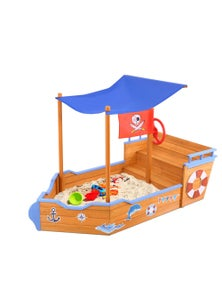 Keezi Boat-shaped Sand Pit with Canopy 80 x 165 x 102cm