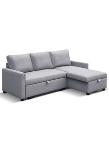 Artiss 3-Seater Storage Sofa Bed Chaise - Grey