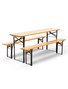 Artiss Natural Wooden Outdoor Foldable Bench Set - 1x Outdoor Table + 2x Bench