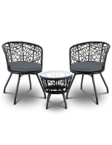 Gardeon Outdoor Furniture Rattan Bistro Set Chair Patio Garden Wicker Cushion 3Pc