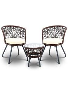 Gardeon Outdoor Furniture Rattan Bistro Set 3Pcs Chair Table Patio Garden Wicker