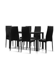 Artiss Astra 7-Piece Dining Table and Chairs Dining Set Glass Leather Seater - Black