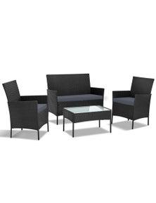 Gardeon Outdoor Lounge Setting Wicker Sofa Set Patio Cushions 4Pcs Black