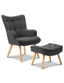 Artiss Lansar Armchair and Ottoman - Charcoal