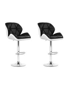 Artiss 2x Kitchen Swivel Bar Stools Chairs Leather Gas Lift Black