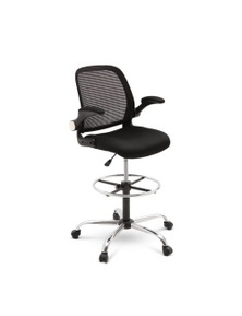 Artiss Veer Drafting Stool Office Chairs Mesh Adjust Armrest Black Standing Desk
