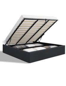 Artiss 'Toki' King Size Gas Lift Bed Frame Base With Storage Platform - Charcoal Fabric