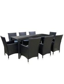 Gardeon 9 Piece Outdoor Dining Set - Black