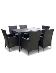 Gardeon 7 Piece Outdoor Dining Set - Black