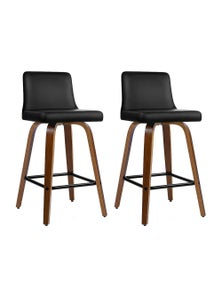 Artiss 2x Kitchen Wooden Swivel Bar Stools Chairs Leather Luxury Black