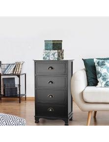 Artiss 4-drawer Bedside Storage Cabinet - Black