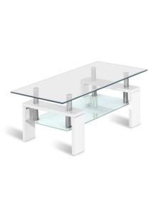 Artiss Coffee Table 2 Tier Tempered Glass Stainless Steel White