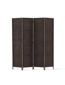 Artiss 4 Panel Room Divider Privacy Screen - Rattan Woven Brown