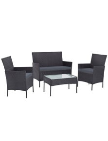 Gardeon Outdoor Lounge Setting Wicker Sofa Set Patio 4 Piece 4Pcs Grey