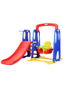 Keezi Kids Slide Swing W/ Basketball Hoop Outdoor Indoor Toddler Playground Play