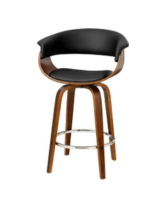 Artiss 1X Wooden Bar Stools Swivel Kitchen Dining Chairs Leather Black