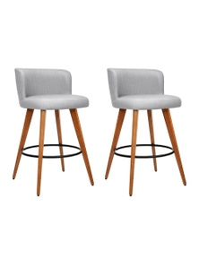 Artiss 2x Wooden Bar Stools Modern Bar Stool Kitchen Dining Chairs Cafe Grey