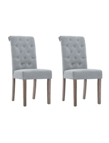 Artiss 2x Dining Chairs French Provincial Fabric High Roll Back Wood Grey