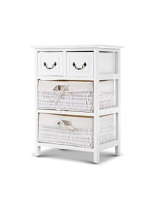 Artiss Alcott Bedside Table Storage Cabinet - White