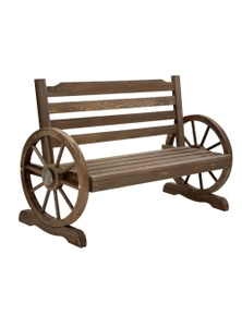 Gardeon Wooden Wagon Wheels Bench