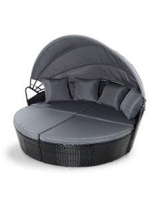 Gardeon Outdoor Lounge Setting - Wicker Garden Rattan Set Black