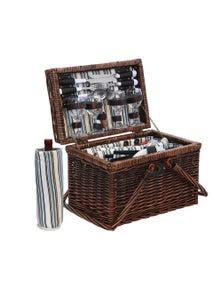Alfresco Picnic Basket Set 4 Person Folding Insulated bag