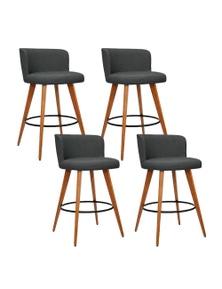 Artiss 4x Wooden Bar Stools Modern Bar Stool Kitchen Dining Chairs Cafe Charcoal