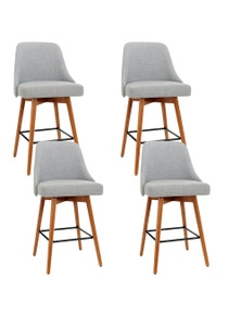 Artiss 4x Wooden Swivel Bar Stools Kitchen Dining Chairs Cafe Grey