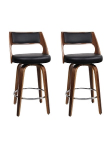 Artiss 2 Wooden Swivel Bar Stools Kitchen Dining Chair Cafe Black 76cm