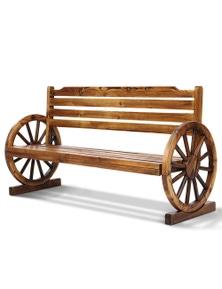 Gardeon Wooden Wagon Wheel Outdoor Bench 3 Seater - Light Brown